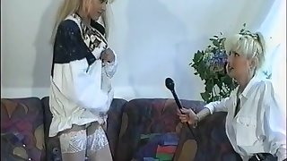 German Girl plays with myself when being interviewed