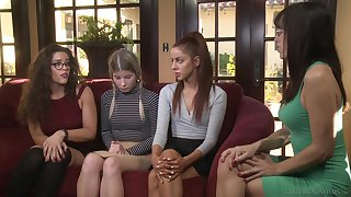 Girl on girl sexual intercourse on the bed between Vanna Bardot and Vienna Rose