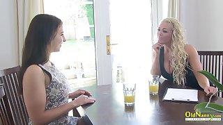 OldNannY Classy Lesbian Interview plus Tits Palpate