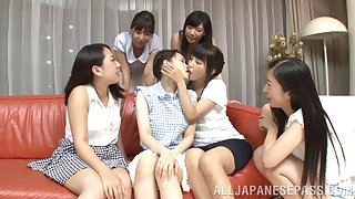 Video of Ayaka Tomoda getting pleasured by horny Japanese babes