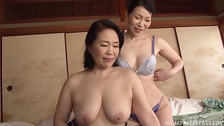 Asian lesbo models drop their clothes with an increment of rendered helpless each other