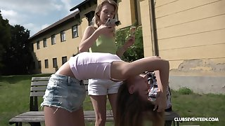 Outside lesbian bonk is one of the fantasies of sexy blonde Confectionery Teen