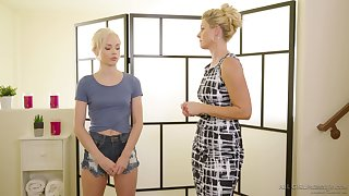 Masseuse India Summer gives a pussy rub down to sexy petite blonde Elsa Jean