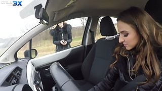 Lesbian babe Amirah Adara is toying pussy with the addition be proper of anus be proper of sexy hitchhiker Tiffany Tatum