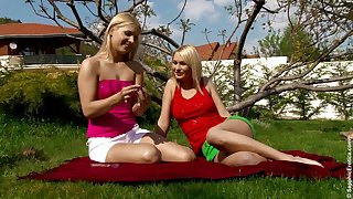 Endearing outdoors pussy ribbons action with sassy lesbian duo