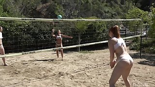 Group of friends playing volleyball decided to have massive orgy after