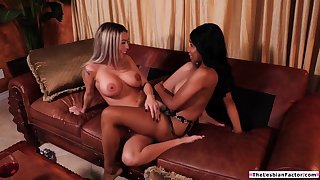 Sinister babe teaches straightforward latina friend how to eat pussy