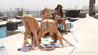 Blazing outdoors lesbian action with curvy amateur sex bombs