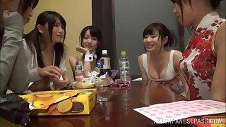 Two Japanese lesbians pleasuring a indulge regarding small tits