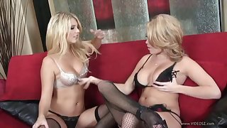 These blonde lesbians are fitfully lick each other out