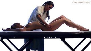Lesbian masseuse enjoys touching beautiful young company be advisable for 18 yo virgin Vika