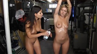 horny oiled up babes upon the air natural tits upon lesbian femdom session