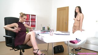 Girl on girl sex action on the job interview with Alexis and Morgan