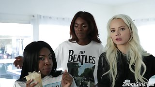 Charming white teen Elsa Jean and ebony porn partition Anne Amari give an interview