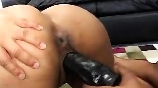 Horny lesbian at a loss for words and strapon sex